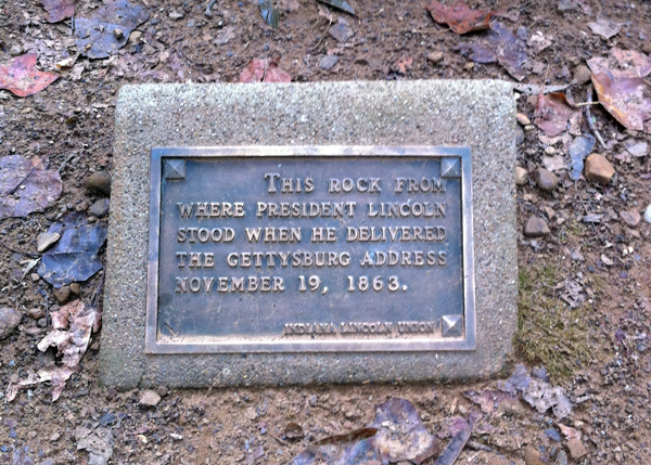 One of the plaques identifying the stones... this one is Gettysburg.