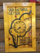 A handy clock in the lobby of Old Faithful Inn reminds guests of then the next eruption is due.